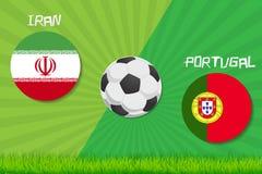Partita di calcio Iran contro il Portogallo Fondo di sport Fotografia Stock