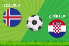 Partita di calcio Islanda contro la Croazia Fondo di sport Fotografia Stock
