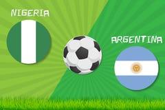 Partita di calcio Nigeria contro l'Argentina Fondo di sport Immagine Stock Libera da Diritti