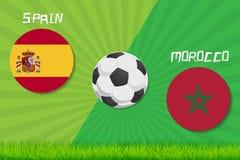 Partita di calcio Spagna contro il Marocco Fondo di sport Fotografia Stock Libera da Diritti