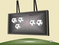 Partita di calcio sul tabellone segnapunti Fotografie Stock Libere da Diritti