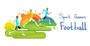 Partita di calcio Team Sport Competition Colorful Banner illustrazione di stock