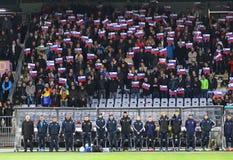 Partita di spareggio 2016 dell'EURO dell'UEFA per il finale: La Slovenia v Ucraina Immagini Stock Libere da Diritti