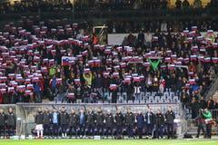 Partita di spareggio 2016 dell'EURO dell'UEFA per il finale: La Slovenia v Ucraina Immagini Stock