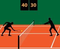 Partita di tennis su argilla Fotografie Stock Libere da Diritti