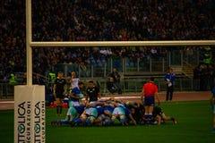 Partita Italia di Cattolica di rugby - tutto il nera fotografia stock libera da diritti