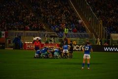 Partita Italia di Cattolica di rugby - tutto il nera fotografie stock libere da diritti