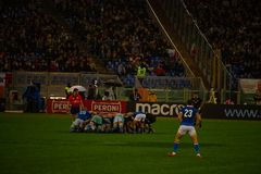 Partita Italia di Cattolica di rugby - tutto il nera fotografia stock
