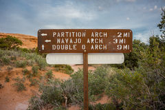 Partition and Navajo Arch Sign Stock Image