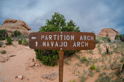 Partition and Navajo Signs with Fisheye Royalty Free Stock Photos