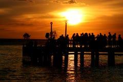 Partito al tramonto fotografie stock