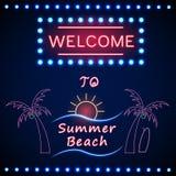 Partito brillante al neon della spiaggia con la palma ed il sole Immagini Stock Libere da Diritti