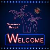 Partito brillante al neon della spiaggia con la palma ed il sole Immagine Stock