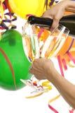 Partito con champagne e la decorazione di carnevale Immagine Stock