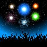 Partito con i fuochi d'artificio Fotografie Stock