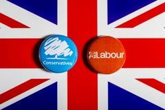 Partito conservatore e partito laburista Fotografia Stock Libera da Diritti