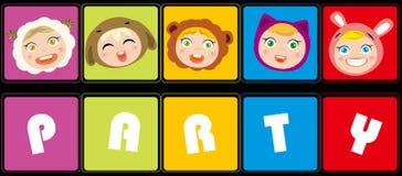 Partito degli animali del gioco dei bambini Fotografia Stock Libera da Diritti