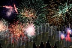 Partito dei fuochi d'artificio con champagne Fotografie Stock