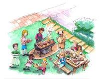 Partito del barbecue all'illustrazione dell'iarda Fotografia Stock Libera da Diritti