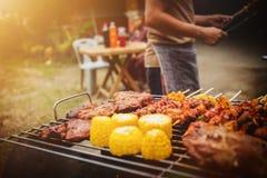 Partito del barbecue di vacanza di festa della famiglia immagini stock