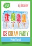 Partito del gelato dell'acquerello Illustrazione di Stock