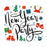 Partito del nuovo anno, iscrizione ed icone e simboli di natale su un fondo bianco Illustrazione di vettore, grande progettazione Fotografia Stock