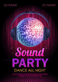Partito del suono del manifesto della discoteca Fotografia Stock