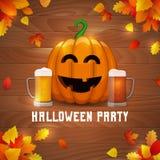 Partito della birra della zucca di Halloween illustrazione di stock