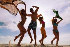 Partito di anni dell'adolescenza della spiaggia Immagini Stock