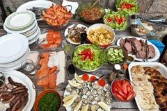 Partito di banchetto della carne dei frutti di mare Fotografie Stock