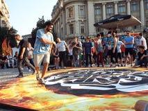 Partito di blocco nel quadrato di Universitatii a Bucarest, Romania Immagini Stock Libere da Diritti
