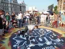 Partito di blocco nel quadrato di Universitatii a Bucarest, Romania Fotografia Stock