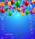 Partito di buon compleanno con i palloni ed il fondo dei nastri Immagini Stock Libere da Diritti