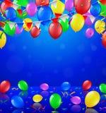 Partito di buon compleanno con i palloni ed il fondo dei nastri Fotografia Stock