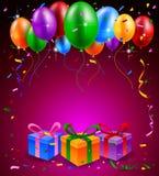 Partito di buon compleanno con i palloni ed il fondo del regalo Immagine Stock Libera da Diritti