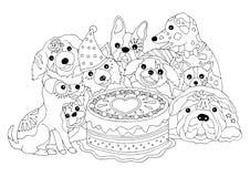 Partito di buon compleanno dei cani con il grande dolce, illustrazione disegnata a mano di vettore Immagine Stock
