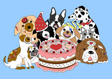 Partito di buon compleanno dei cani con il grande dolce, illustrazione disegnata a mano di vettore Immagini Stock
