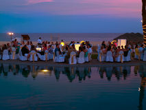 Partito di cena alla spiaggia Fotografia Stock