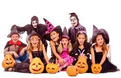 Partito di Halloween con il bambino del gruppo Immagini Stock Libere da Diritti