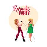Partito di karaoke, insegna di concorso, manifesto con due ragazze che cantano insieme illustrazione di stock