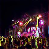 Partito di notte con la gente di dancing e le luci di scena Illustrazione digitale di incandescenza al neon di aria aperta illustrazione vettoriale