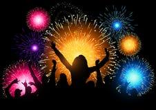 Partito di notte dei fuochi d'artificio Immagine Stock