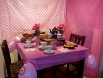 Partito di rosa del tè Fotografia Stock