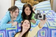 Partito di Slumber teenager della ragazza fotografia stock