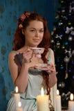Partito di tè sulla notte di Natale Fotografie Stock
