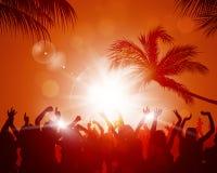 Partito di tramonto della spiaggia Fotografie Stock