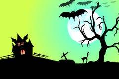 Partito e luna piena di Halloween Fotografia Stock