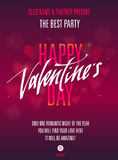 Partito felice di giorno di biglietti di S. Valentino Invito per l'aletta di filatoio, manifesto, cartolina d'auguri Fotografia Stock