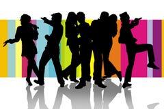 Partito felice di karaoke Immagine Stock