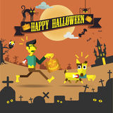 Partito felice di notte di Halloween Immagine Stock Libera da Diritti